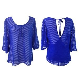 Heart Soul Cobalt Blue Sheer Chevron Blouse Size M